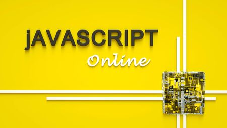 3d rendering of advertising banner for Javascript E-learning. Concept of Javascript programming language online learning. Online education.
