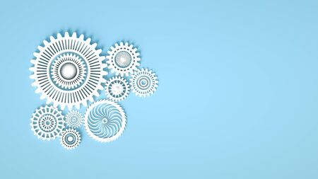 3d rendering. Composition of white gears symbolizing cooperation and teamwork. Cogwheels for websites or business design banners. Place for text. White gears on blue background