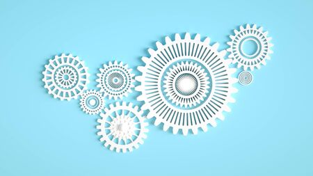 Arrangement of white gears symbolizing cooperation and teamwork. Minimal concept 3d render. Composition of white gears on blue background