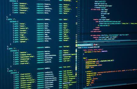 Javascript. Software programming code. Abstract computer script code. Programming code on the screen. Vue js, markup Stock Photo