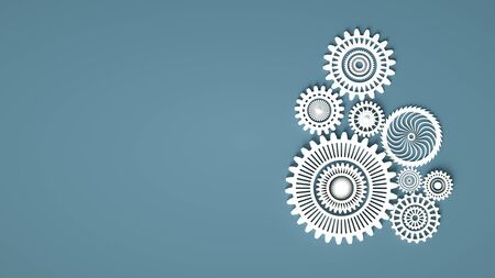 3d illustration of white gears composition with copy space. Cogwheels for websites or business design banners. Construction or minimal concept 3d render Stock Photo