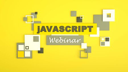 3D illustration of advertising signboard of Javascript webinar. Coding. Concept of Javascript programming language online learning. Software development concept.