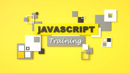 3d render of Javascript training. Programming training. Coding concept. Javascript language e-learning. Online education. Application development