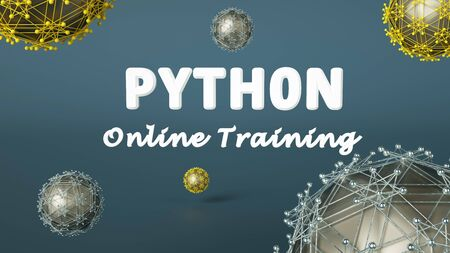 3d rendering of online learning banner for Python online training. Coding concept. Learn to code Python programming language