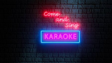 Come and Sing Karaoke neon sign on brick wall at night. 3d illustration