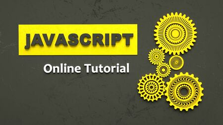 3D illustration of advertising signboard of Javascript online tutorial. Coding. Concept of Javascript programming language online learning. Software development concept