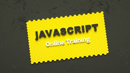3d render of Javascript online training. Programming training. Coding concept. Javascript language e-learning. Online education. Application development
