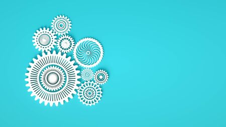 Arrangement of white gears symbolizing cooperation and teamwork. Place for text. Minimal concept 3d render. White gears on blue background Stock Photo