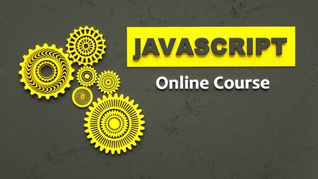 3d rendering of advertising banner for Javascript online course. E-learning. Concept of Javascript programming language online learning. Online education.