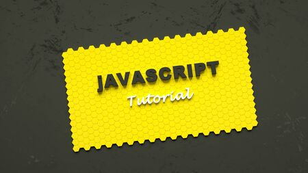 3d illustration of Javascript tutorial. E-learning. Yellow card made of honeycombs with Javascript tutorial inscription. Online programming education Stock Photo