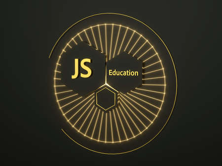 JS Education 3d illustration. Premium gold sign for JS Education online. Elearning. Banner. Three hexagons in circle with rays