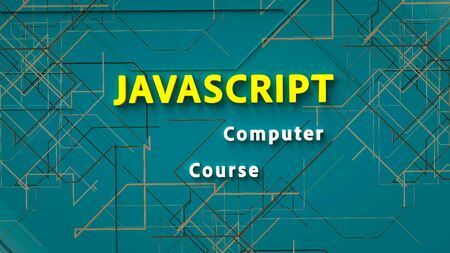 3d rendering of advertising banner for Javascript computer course. E-learning. Concept of Javascript programming language online learning. Online education. 3d illustration
