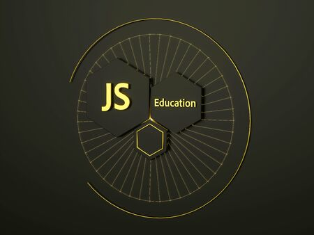 3d banner for JS education in black and gold colors. Three honeycombs in circle. E-learning. 3d illustration