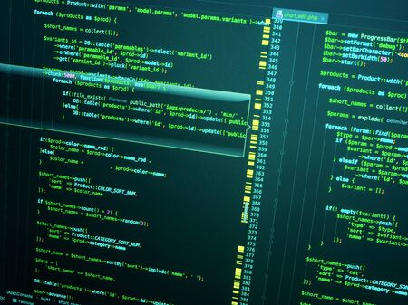 PHP in code editor, close up. Programming concept. Web developing on the php language Stock Photo