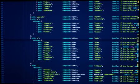 Digital  code. Coding application by programmer developer. Web app coding. Script on computer with source code. Programming code abstract background screen of software