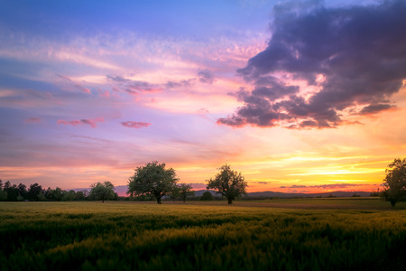 Colorful countryside sunet