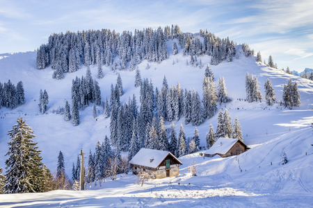 Houses in Mountain With Snow in Winter