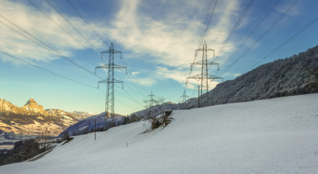 Electric Power Masts in Winter