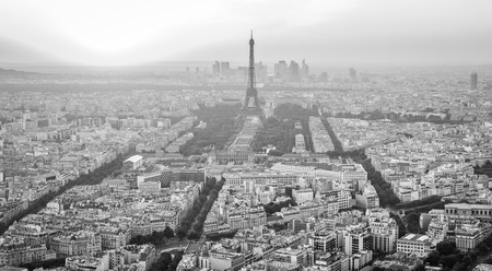 Eiffel Tower Skyline Black and White Imagens