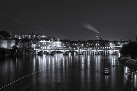 Basel at night - black and white