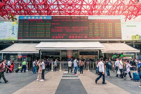 Train Station Schedule Board in Shenzhen, China - April 2018