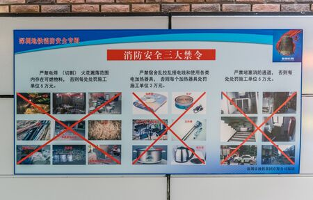 Prohibited Items on sign in Shenzhen, China - April 2018