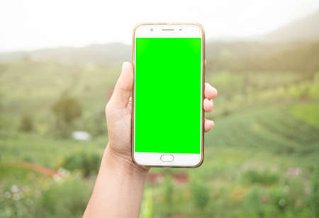 Close up of hand holding smartphone with blank screen on the mountain background.