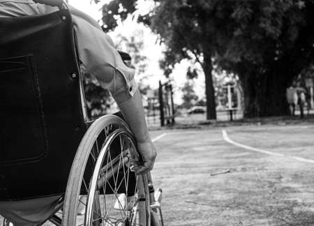 Rear of disabled woman sitting in wheelchair relax in the outdoor public park. Black and white style tone.