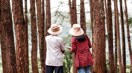 Young woman with her grandfather using digital tablet in pine forest, talking about family organic farm. Modern technology smart farming agriculture and family togetherness concepts.