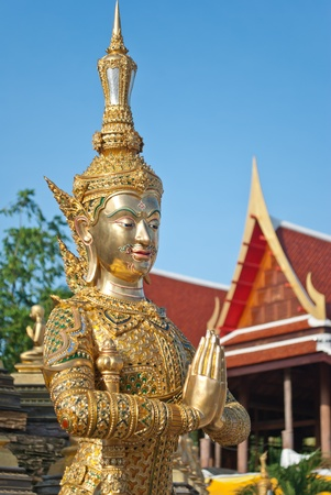 face guard: statue angle in thai temple picture