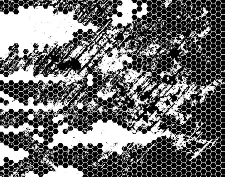 Grunge Black and White Distress Texture. Isolated on white background. Distress hexagonal grid.