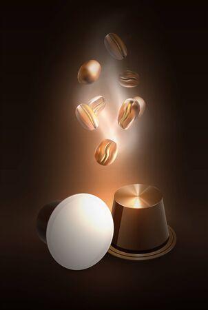 Kaffee in Kapseln für Espressomaschine. Frische oder tolles Aroma. Cover-Design. Geröstete Kaffeebohnen. Vektorgrafik