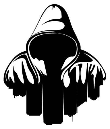 Urban style. Hooded man. City Silhouette. Underground street art. Illustration