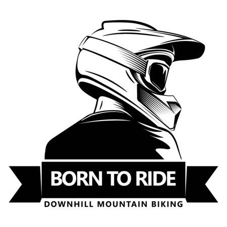 Achterschot van de mens met een volledige gezichtsmotorcrosshelm. Extreme sport logo sjabloon. Plaats voor tekst. Bergaf mountainbiken. Logo
