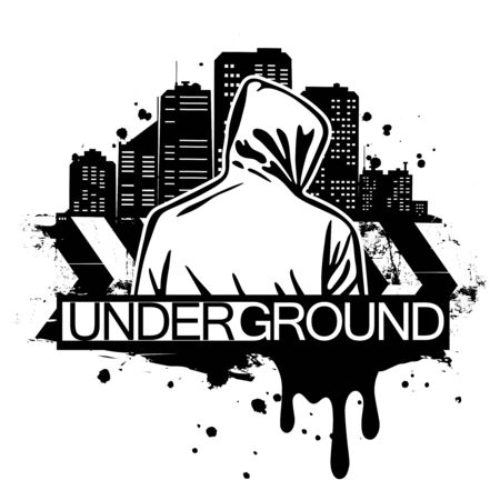 Urban style illustration of man in hoodie behind city silhouette. Street art style. T-shirt print design. Vector Illustration