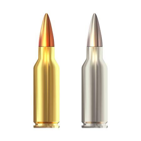Realistic vector rifle bullets islated on white background.