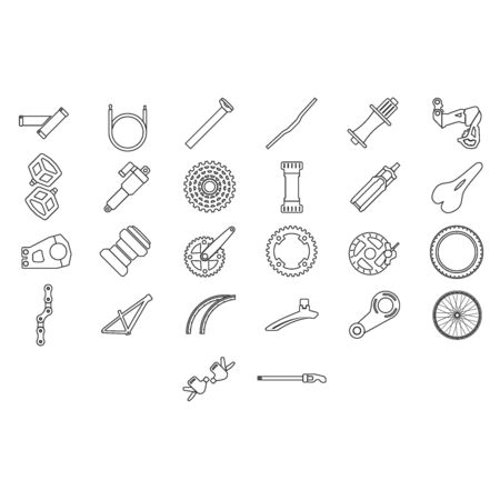 Bicycle parts and components icons. Vecteurs