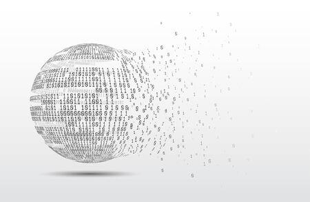 Globo de código binario. Planeta tecnológico. Big data. Red global. Inteligencia artificial. Del caos al sistema. Ilustración de vector