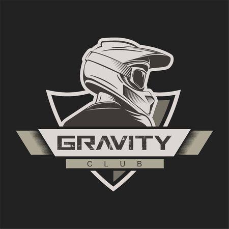 Man with full face motocross helmet. T-shirt print design. Bike school. Bikepark logo.