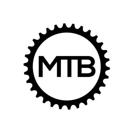 Bicycle chainring. Mountain bike gear logo template.