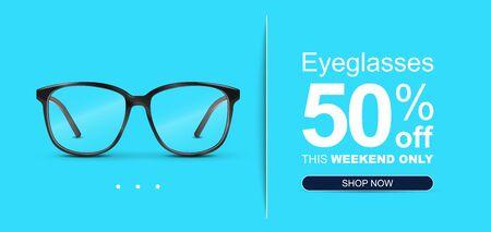 Eyeglasses Sale Banner Concept. Optical glasses Illustration