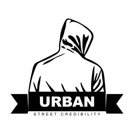 Man in hoodie. Logo design. Urban design
