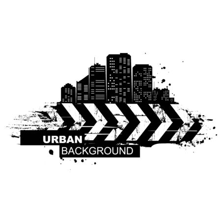 Urban background. Abstract silhouette of the city skyscrapers.