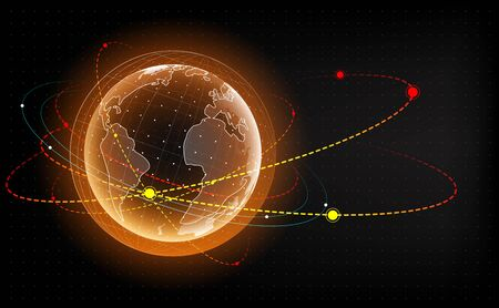 Earth hologram with satellite. Artificial satellite around the earth. Earth impact monitoring. Vector Illustration