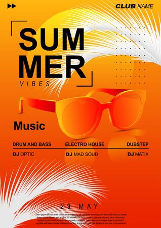 Electronic Music Cover Design for Summer Fest or DJ Party Flyer. Summer music poster with sunglasses and palm leaves.