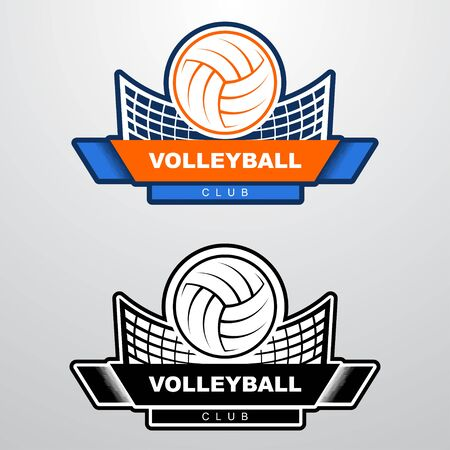 Volleyball logo template with ball flying over the net. Orange and blue sport logo template with flying ball.