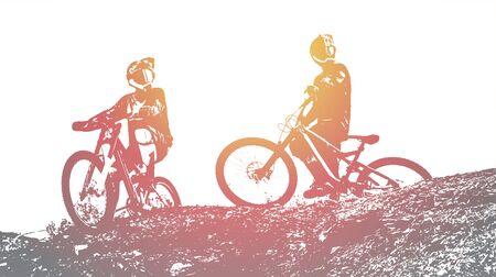 Silhouette of a biker. Downhill mountain biking background. Vector Illustration