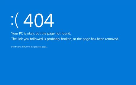 Blue screen of death. System crash report redesigned like 404 error page not found.