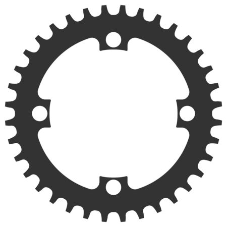 Vector Bicycle chainring 36 tooth isolated. Mtb gear.