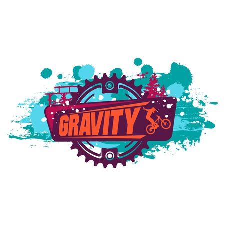 Gravity Mountain Biking. Downhill,freeride .Grunge effect. Nice for T-shirt print.